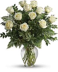 One Dozen White Long Stem Roses in a Vase from Amy's Flowers and Gifts in Sparks, NV